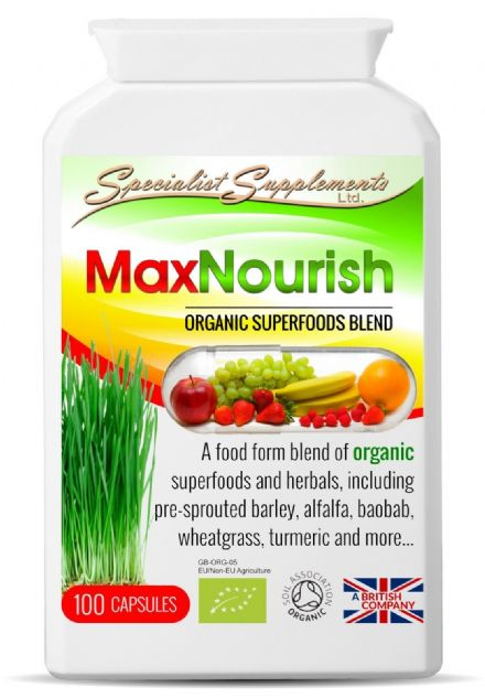 MaxNourish x 100 V-Capsules; Organic Superfood Blend; Specialist Supplements